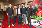 """(L-R) Actor Bill Hader, actor Josh Gad, producer John Cohen, actor Jason Sudeikis and actor Danny McBride attend a photo call and Q&A session for a """"Sneak Beak"""" of Columbia Pictures and Rovio Animations' ANGRY BIRDS at Sony Pictures Studios on February 23, 2016 in Culver City, California."""