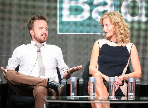 ... in this photo anna gunn aaron paul l r actors aaron paul and anna gunn