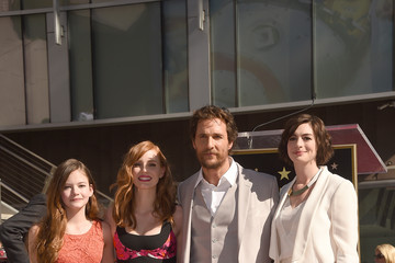 Anne Hathaway Matthew McConaughey Honored on the Walk of Fame