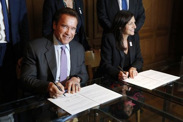 Anne Hidalgo Paris Mayor Anne Hidalgo Receives Arnold Schwarzenegger In Paris