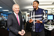 Tony Blair (L) and  Spencer Dinwiddie  attend the Annual Charity Day hosted by Cantor Fitzgerald, BGC and GFI at Cantor Fitzgerald on September 11, 2018 in New York City.