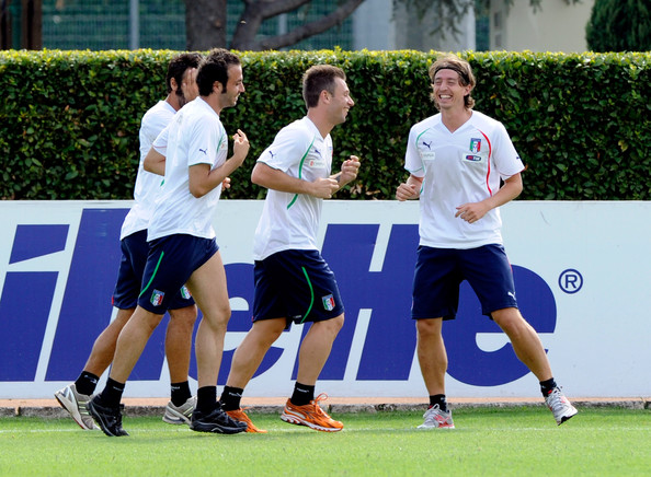 Italy Training Session and Press Conference [sports,player,team sport,team,sports equipment,sport venue,championship,competition event,tournament,sports training,riccardo montolivo,antonio cassano,giampaolo pazzini,l-r,italy,florence,coverciano,italy training session and press conference]