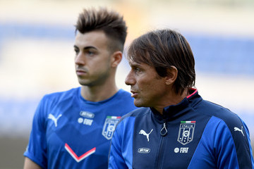Antonio Conte Stephan El Shaarawy Italy Training Session And Press Conference