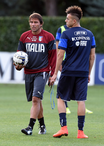 Italy Training Session  [player,sports,sports equipment,team sport,ball game,tournament,sports training,grass,soccer player,football player,coach,stephan el shaarawy,antonio conte,italy training session press conference,l,italy,florence,coverciano]