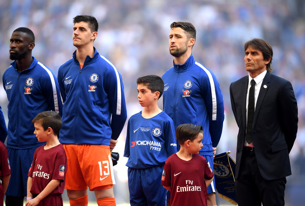 Chelsea vs. Manchester United - The Emirates FA Cup Final [team,player,blue,social group,soccer player,team sport,football player,championship,sports,tournament,antonio conte,antonio rudiger,thibaut courtois,gary cahill,anthem,l-r,chelsea,wembley stadium,manchester united,emirates fa cup final]