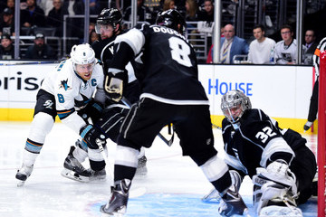 Anze Kopitar Jonathan Quick San Jose Sharks v Los Angeles Kings - Game One
