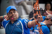 In this handout image provided by the World Archery Federation, Roberto Hernandez of El Salvador shoots during the Compound Men team bronze medal match at the Hyundai Archery World Cup 2016 Stage 2 on May 14, 2016 in Medellin, Colombia.