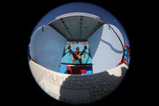 Image was created using a fisheye lens.) Matt Grevers competes in the preliminary heat of the men's 100 meter backstroke on day three of the Arena Pro Swim Series - Mesa at Skyline Aquatic Center on April 15, 2017 in Mesa, Arizona.