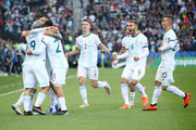 Sergio Aguero of Argentina celebrates with teammates after scoring the opening goal during the Copa America Brazil 2019 Third Place match between Argentina and Chile at Arena Corinthians on July 06, 2019 in Sao Paulo, Brazil.