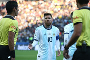 Lionel Messi of Argentina argues after being sent off during the Copa America Brazil 2019 Third Place match between Argentina and Chile at Arena Corinthians on July 06, 2019 in Sao Paulo, Brazil.