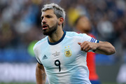 Sergio Aguero of Argentina celebrates after scoring the opening goal during the Copa America Brazil 2019 Third Place match between Argentina and Chile at Arena Corinthians on July 06, 2019 in Sao Paulo, Brazil.