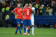 Angel Di Maria of Argentina greets Arturo Vidal of Chile after the Copa America Brazil 2019 Third Place match between Argentina and Chile at Arena Corinthians on July 06, 2019 in Sao Paulo, Brazil.