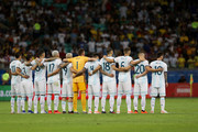 Players of Argentina line up for minute of silence for the Argentine journalist Jorge Gendler prior to the Copa America Brazil 2019 group B match between Argentina and Colombia at Arena Fonte Nova on June 15, 2019 in Salvador, Brazil.