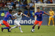 Lionel Messi of Argentina fights for the ball with Wílmar Barrios and Radamel Falcao of Colombia during the Copa America Brazil 2019 group B match between Argentina and Colombia at Arena Fonte Nova on June 15, 2019 in Salvador, Brazil.