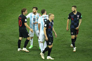 Lionel Messi of Argentina confronts Luka Modric of Croatia during the 2018 FIFA World Cup Russia group D match between Argentina and Croatia at Nizhny Novgorod Stadium on June 21, 2018 in Nizhny Novgorod, Russia.