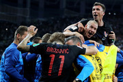 Luka Modric of Croatia celebrates with teammates after scoring his team's second goal during the 2018 FIFA World Cup Russia group D match between Argentina and Croatia at Nizhny Novgorod Stadium on June 21, 2018 in Nizhny Novgorod, Russia.