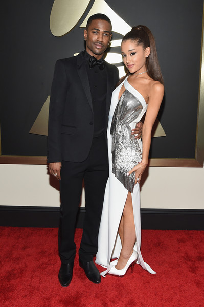 The 57th Annual GRAMMY Awards - Red Carpet [red carpet,red carpet,carpet,clothing,suit,fashion,formal wear,dress,flooring,tuxedo,cocktail dress,big sean,ariana grande,california,los angeles,staples center,57th annual grammy awards,the 57th annual grammy awards]