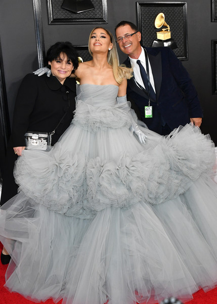 62nd Annual GRAMMY Awards - Arrivals [gown,dress,wedding dress,carpet,clothing,red carpet,white,bridal clothing,flooring,lady,arrivals,joan grande,ariana grande,edward butera,l-r,los angeles,california,staples center,annual grammy awards,ariana grande,joan grande,edward butera,staples center,grammy awards,thank u next,photograph,stock photography,red carpet]