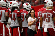 Intern linebacker coach Jen Welter of the Arizona Cardinals works with the defense during the team training camp at University of Phoenix Stadium on August 2, 2015 in Glendale, Arizona.