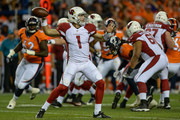 Quarterback Trevor Knight #1 of the Arizona Cardinals passes against the Denver Broncos in the second half during a preseason NFL game at Sports Authority Field at Mile High on August 31, 2017 in Denver, Colorado.