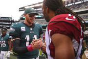 Carson Wentz #11 of the Philadelphia Eagles shakes hands with Larry Fitzgerald #11 of the Arizona Cardinals after the game at Lincoln Financial Field on October 8, 2017 in Philadelphia, Pennsylvania. The Eagles defeated the Cardinals 34-7.