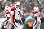 Carson Palmer #3 of the Arizona Cardinals walks off the field after an incomplete pass on fourth down in the fourth quarter against the Philadelphia Eagles at Lincoln Financial Field on October 8, 2017 in Philadelphia, Pennsylvania. The Eagles defeated the Cardinals 34-7.