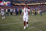 Quarterback Blaine Gabbert #7 of the Arizona Cardinals walks off the field after losing 20-15 to the Washington Redskins at FedEx Field on December 17, 2017 in Landover, Maryland.