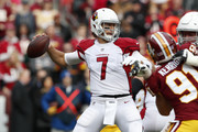 Quarterback Blaine Gabbert #7 of the Arizona Cardinals throws the ball in the first quarter against the Washington Redskins at FedEx Field on December 17, 2017 in Landover, Maryland.