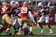 David Johnson #31 of the Arizona Cardinals rushes with the ball against the San Francisco 49ers during their NFL game at Levi's Stadium on October 7, 2018 in Santa Clara, California.