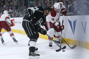 Shane Doan #19 of the Arizona Coyotes and Robyn Regehr #44 of the Los Angeles Kings battle for the puck at Staples Center on March 16, 2015 in Los Angeles, California.