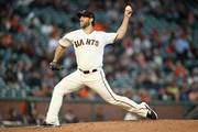 Madison Bumgarner #40 of the San Francisco Giants pitches against the Arizona Diamondbacks in the second inning at AT&T Park on August 28, 2018 in San Francisco, California.