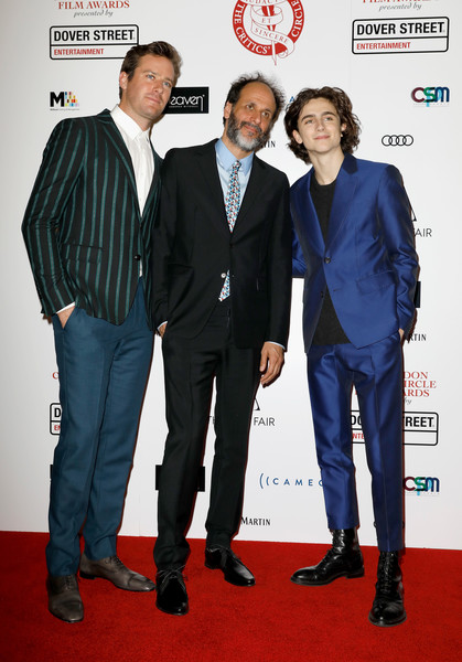 London Film Critics Circle Awards - Red Carpet Arrivals [suit,carpet,premiere,red carpet,event,white-collar worker,formal wear,flooring,red carpet arrivals,timothee chalamet,luca guadagnino,armie hammer,london,england,the mayfair hotel,london film critics circle awards]