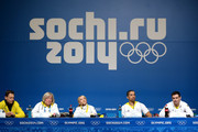 (L-R) Christina Klaue, vice president of the German skating federation Elke Treitz, pairs ice skaters Aljona Savchenko and Robin Szolkowy of Germany and coach Ingo Steuer attend a Team Germany press conference during Day 2 of the Sochi 2014 Winter Olympics at the Main Press Center (MPC) on February 9, 2014 in Sochi, Russia.