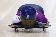 Shelley Rudman of Great Britain makes a run during a Women's Skeleton training session on Day 3 of the Sochi 2014 Winter Olympics at the Sanki Sliding Center on February 10, 2014 in Sochi, Russia.