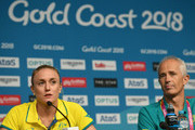 Australian team doctor Paul Blackman (r) is seen during Sally Pearson press conference as she withdraws from the the games due to injury  on day one of the Gold Coast 2018 Commonwealth Games at Gold Coast Convention and Exhibition Centre on April 5, 2018 on the Gold Coast, Australia.