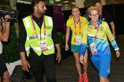 Sally Pearson of Australia arrives for her press conference as she withdraws from the the games due to injury on day one on day one of the Gold Coast 2018 Commonwealth Games at Gold Coast Convention and Exhibition Centre on April 5, 2018 on the Gold Coast, Australia.