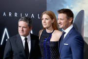 """CEO of Paramount Pictures, Brad Grey (L), actress Amy Adams and actor Jeremy Renner attend the LA Premiere of the Paramount Pictures title """"Arrival"""" at Regency Village Theatre on November 6, 2016 in Westwood, California."""