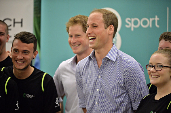 Prince Harry and Prince William, Duke of Cambridge visit the Coach Core project at Gorbals Leisure Centre on July 29, 2014 in Glasgow, Scotland.