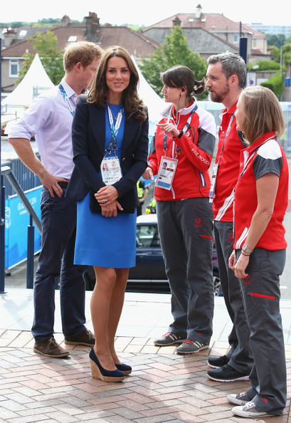 Catherine, Duchess of Cambridge meets Commonwealth Games volunteers as she arrives at Hampden Park for the athletics on day six of the Commonwealth Games on July 29, 2014 in Glasgow, Scotland.