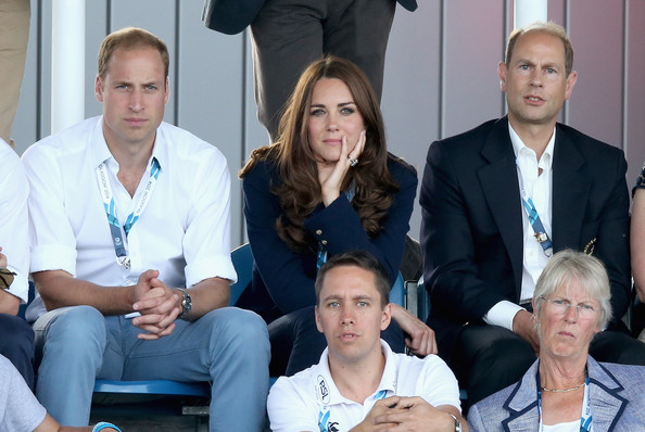 Catherine, Duchess of Cambridge, Prince William, Duke of Cambridge and Prince Edward, Earl of Wessex watch Scotland Play Wales at Hockey at the Glasgow National Hockey Centre during the 20th Commonwealth games on July 28, 2014 in Glasgow, Scotland.