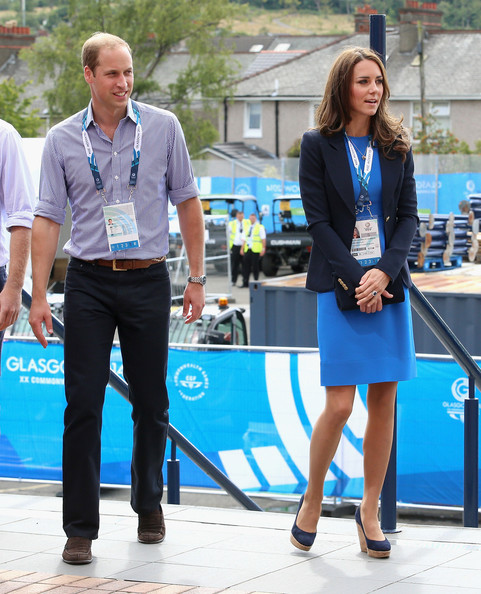 Prince William, Duke of Cambridge and Catherine, Duchess of Cambridge arrive at Hampden Park for the athletics on day six of the Commonwealth Games on July 29, 2014 in Glasgow, Scotland.