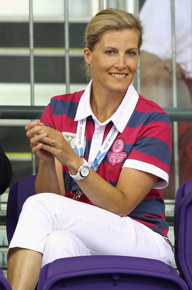 Sophie, Countess of Wessex watches the English cycling team compete at the Chris Hoy Velodrome in the Emirates Arena during the Commonwealth games on July 24, 2014 in Glasgow, Scotland.