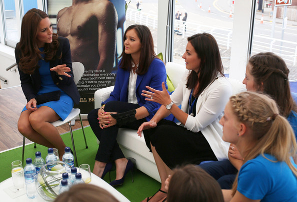 Catherine, Duchess of Cambridge speaks with tennis player Laura Robson (2L) during a SportsAid reception at 'Home Nation House' on July 29, 2014 in Glasgow, Scotland. The Duchess is patron of the charity, which funds the rising stars of British sport to help them reach the top and compete internationally.