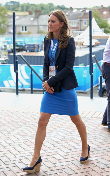 Catherine, Duchess of Cambridge arrives at Hampden Park for the athletics on day six of the Commonwealth Games on July 29, 2014 in Glasgow, Scotland.