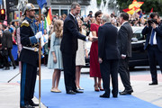 Queen Sofia, Princess Leonor of Spain , King Felipe VI of Spain, Queen Letizia of Spain and Princess Sofia of Spain arrive to the Campoamor Theatre ahead of the 'Princesa de Asturias' Awards Ceremony 2019 on October 18, 2019 in Oviedo, Spain.