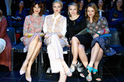 (L-R) Eva Padberg, Franziska Knuppe, Anna Maria Muehe and Jella Haase attend the Kilian Kerner show during the Mercedes-Benz Fashion Week Berlin Autumn/Winter 2015/16 at Kosmos on January 19, 2015 in Berlin, Germany.