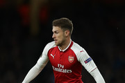 Aaron Ramsey of Arsenal in action during the UEFA Europa League Semi Final leg one match between Arsenal FC and Atletico Madrid at Emirates Stadium on April 26, 2018 in London, United Kingdom.