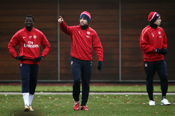 Cesc Fabregas Samir Nasri Arsenal Training Session