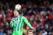 Nicklas Bendtner of Wolfsburg heads the ball during the Emirates Cup match between Arsenal and VfL Wolfsburg at the Emirates Stadium on July 26, 2015 in London, England.