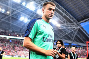 Aaron Ramsey #8 of Arsenal looks during the International Champions Cup match between Arsenal and Paris Saint Germain at the National Stadium on July 28, 2018 in Singapore.